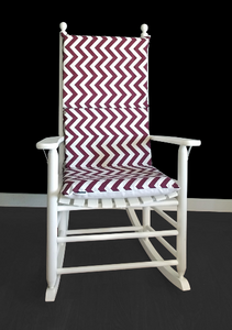Maroon Chevron Rocking Chair Cover, Zig Zag Seat Covers