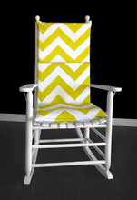 Load image into Gallery viewer, Machine Washable Big Green Chevron Rocking Chair Pad