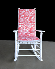 Load image into Gallery viewer, Nursery Room Rocking Chair Cover, Coral Pink Damask Flower Chair Cover