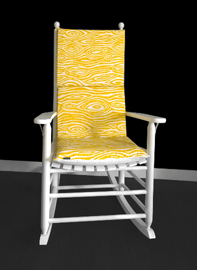 Yellow Tree Rocking Chair Cushion Cover, Wood Grain Seat Covers