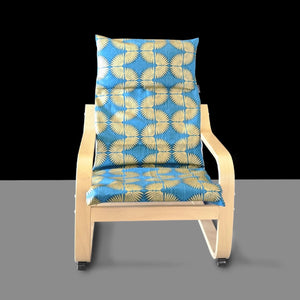 Metallic Gold Turquoise Blue Caterpillar Child's Ikea Poang Seat Cover