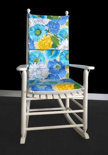 Turquoise Flowers Rocking Chair Cushion
