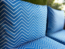 Load image into Gallery viewer, SALE IKEA Outdoor Slipcovers, Cobalt Blue Chevron