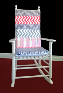 Herringbone Chevron Rocking Chair Cushion, Patchwork Chair Pad