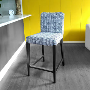 IKEA HENRIKSDAL Bar Stool Chair Cover, Navy Blue Tribal Print