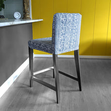 Load image into Gallery viewer, IKEA HENRIKSDAL Bar Stool Chair Cover, Navy Blue Tribal Print