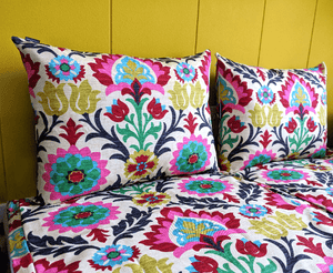 SALE Ikea Cushions Boho Slip Cover, Bespoke Hallo Covers, Colorful Floral Mexican Print, Santa Maria Desert Flower