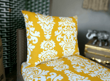 Load image into Gallery viewer, SALE IKEA OUTDOOR Slip Cover, Yellow Floral Cushion Covers, Ikea Decor, Bespoke Covers, Damask Print
