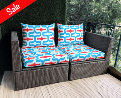 SALE IKEA Arholma OUTDOOR Slip Cover, Ikea Cushion Covers, Custom Ikea Decor, Bespoke Covers, Turquoise Red Pattern