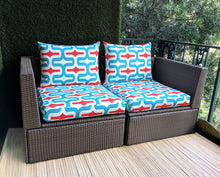 Load image into Gallery viewer, SALE IKEA Outdoor Slipcovers, Red White Blue Retro