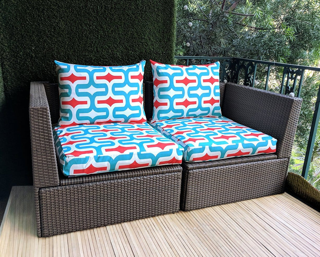 SALE IKEA Outdoor Slipcovers, Red White Blue Retro