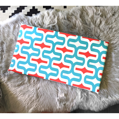 Geometric Pattern, Turquoise Blue Red IKEA STUVA Bench Pad Slip Cover