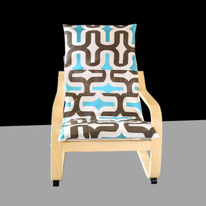 Brown Turquoise Patchwork Retro Pattern IKEA KIDS POÄNG Cushion Cover