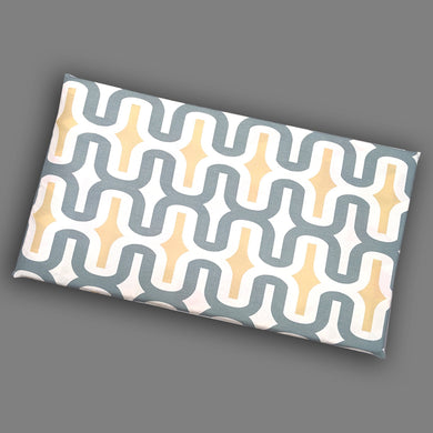 Retro Pattern, Gray, Yellow White IKEA HEMMAHOS Bench Pad Slip Cover