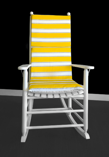 Yellow Stripes Rocking Chair Cushion, Summer Chair Slipcovers