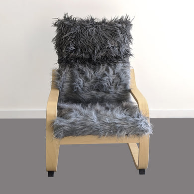 Cosy Gray Fur Kids Ikea Poang Chair Cover