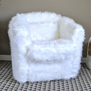 White Fur Custom IKEA TULLSTA Chair Slip Cover