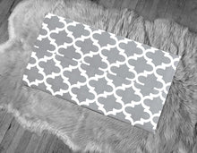 Load image into Gallery viewer, White Gray Moroccan Print IKEA STUVA Bench Pad Slip Cover