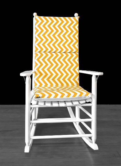 Yellow Gold Zig Zag Rocking Chair Cover, Yellow Chevron Seat Covers