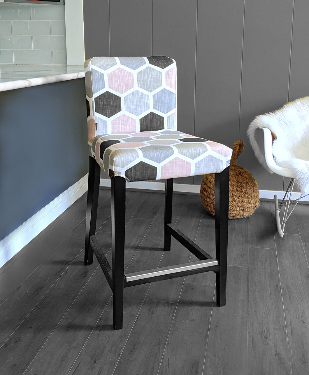 IKEA HENRIKSDAL Barstool Cover, Hexagon Blush