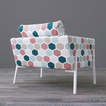 Load image into Gallery viewer, IKEA KOARP Armchair Cover, Teal, Blush Hexagon Print