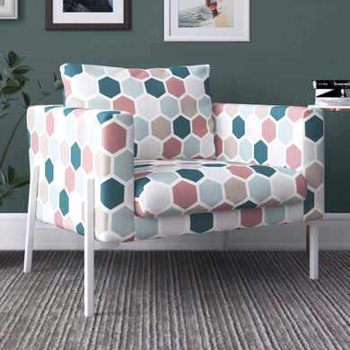 IKEA KOARP Armchair Cover, Teal, Blush Hexagon Print