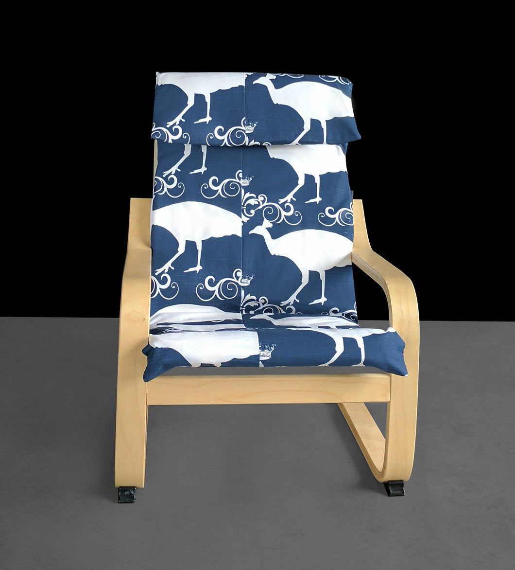 SAMPLE Navy Blue Peacock Ikea KIDS POÄNG Cushion Slipcover