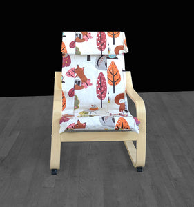 Patchwork Kids Animal Print IKEA POÄNG Cushion Slipcover, Kids Poang Chair Cover