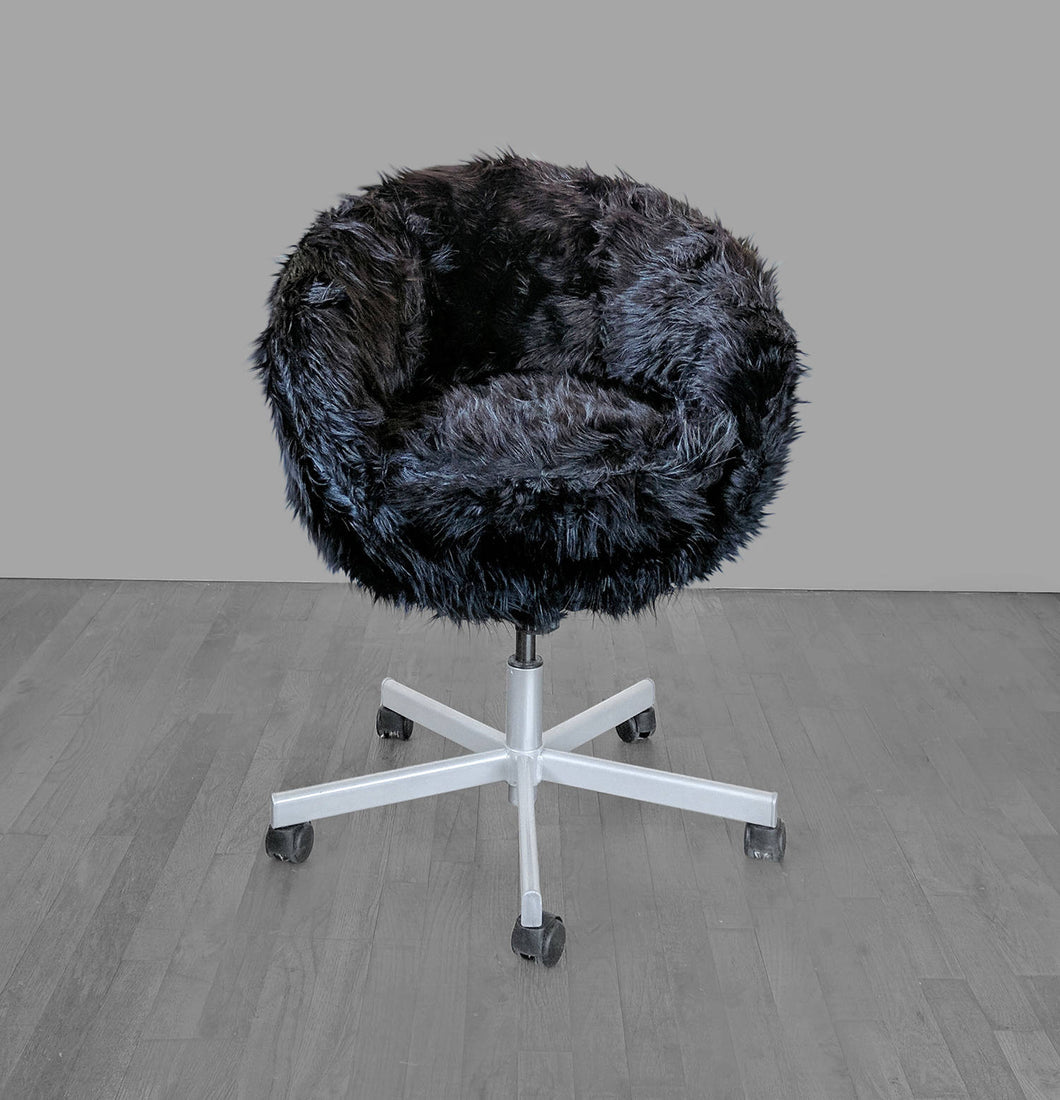 IKEA SKRUVSTA Chair Slip Cover, Swivel Chair Cover, Black Faux Fur
