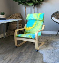 Load image into Gallery viewer, Tie Dye Blue Green Yellow IKEA KIDS POÄNG Cushion Slipcover