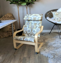 Load image into Gallery viewer, Earthy Floral Ikea Poang Chair Cover, Ikea Kids Poang Seat Cover, Santa Maria Moonstone