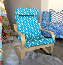 Load image into Gallery viewer, Turquoise Blue Deer Animal Print IKEA KIDS POÄNG Cushion Slipcover
