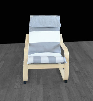 Grey, Beige, White Cabana Stripe Ikea Kids Poang Chair Cover