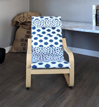 Load image into Gallery viewer, Patchwork Navy Blue Polka Dot Kids Ikea Poang Chair Cover, Custom Childrens Poang Seat Cover