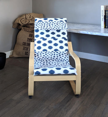 Custom Childrens Poang Seat Cover Patchwork Navy Blue Polka Dot Kids Ikea Poang Chair Cover
