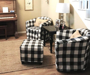 IKEA TULLSTA Chair Slip Cover, Black Plaid Buffalo Check