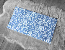 Load image into Gallery viewer, Blue Denim Damask Print, IKEA HEMMAHOS Bench Pad Slip Cover, Floral Indigo