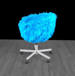 IKEA SKRUVSTA Chair Slip Cover, Turquoise Blue Fur