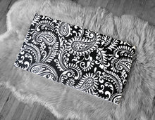 Load image into Gallery viewer, Ikea Bench Pad Slip Cover, Black Damask Floral Paisley