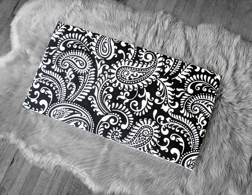 Ikea Bench Pad Slip Cover, Black Damask Floral Paisley