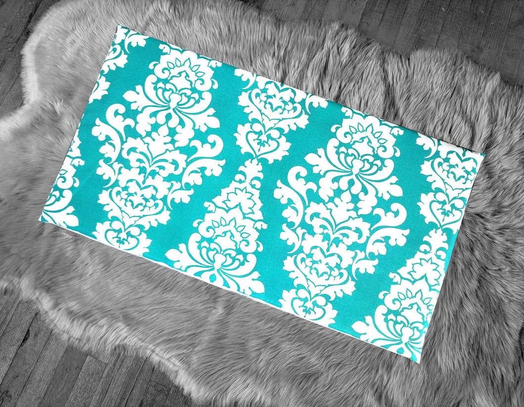 Damask Print Turquoise Blue IKEA HEMMAHOS Bench Pad Slip Cover