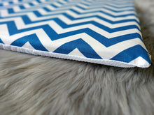 Load image into Gallery viewer, Chevron Pattern, Blue White IKEA STUVA Bench Pad Slip Cover, Zig Zag