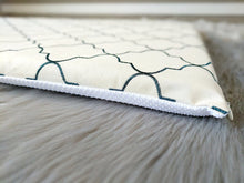 Load image into Gallery viewer, SAMPLE Embroidered Trellis Print, IKEA STUVA Bench Pad Slip Cover, Cream, Navy Blue