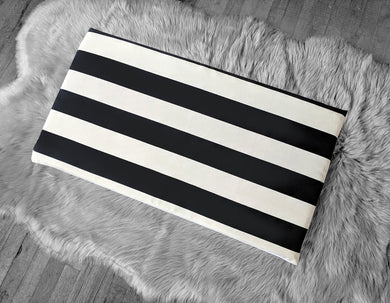 IKEA STUVA Bench Pad Slip Cover, Outdoor Black Beige Cabana Stripe