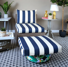 Load image into Gallery viewer, Navy Blue White IKEA Kungso OUTDOOR Slip Cover, Ikea Hallo Cushion Covers, Custom Ikea Decor, Bespoke Arholma Covers, Cabana Stripe