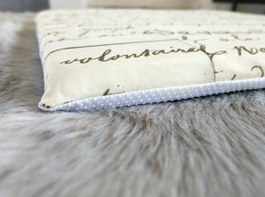 Calligraphy Print, IKEA STUVA Bench Pad Slip Cover, Cream, Script, French, Book Theme