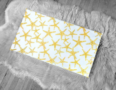 Starfish Yellow Window Seat Pad, IKEA STUVA Bench Pad Slip Cover, Ocean Theme