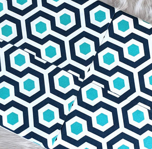 SALE Honeycomb Pattern Turquoise Blue IKEA HEMMAHOS Bench Pad Slip Cover