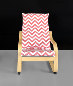 Coral Pink Zig Zag Kids Ikea Poang Chair Cover, Red Chevron Ikea Kids Poang Seat Cover