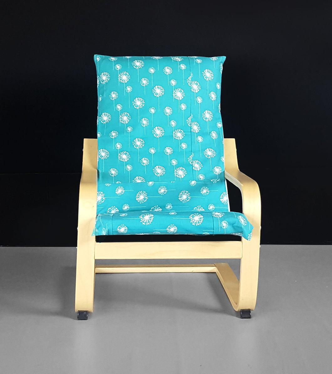 Patchwork Turquoise Dandelion IKEA Childrens POÄNG Cushion Slipcover, Ready to Ship